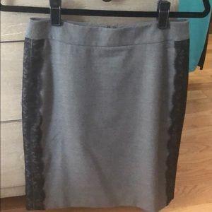 LOFT 0P Grey Skirt with black lace detail